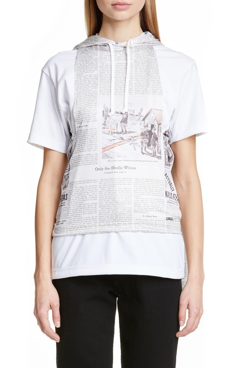 COMME DES GARÇONS Newspaper Print Double Sleeve Hoodie, Main, color, 100