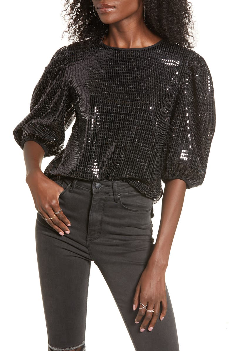 ENGLISH FACTORY Sequin Puff Sleeve Top, Main, color, 001