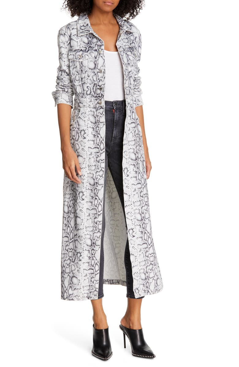DENIM X ALEXANDER WANG Python Print Denim Trench Coat, Main, color, 020