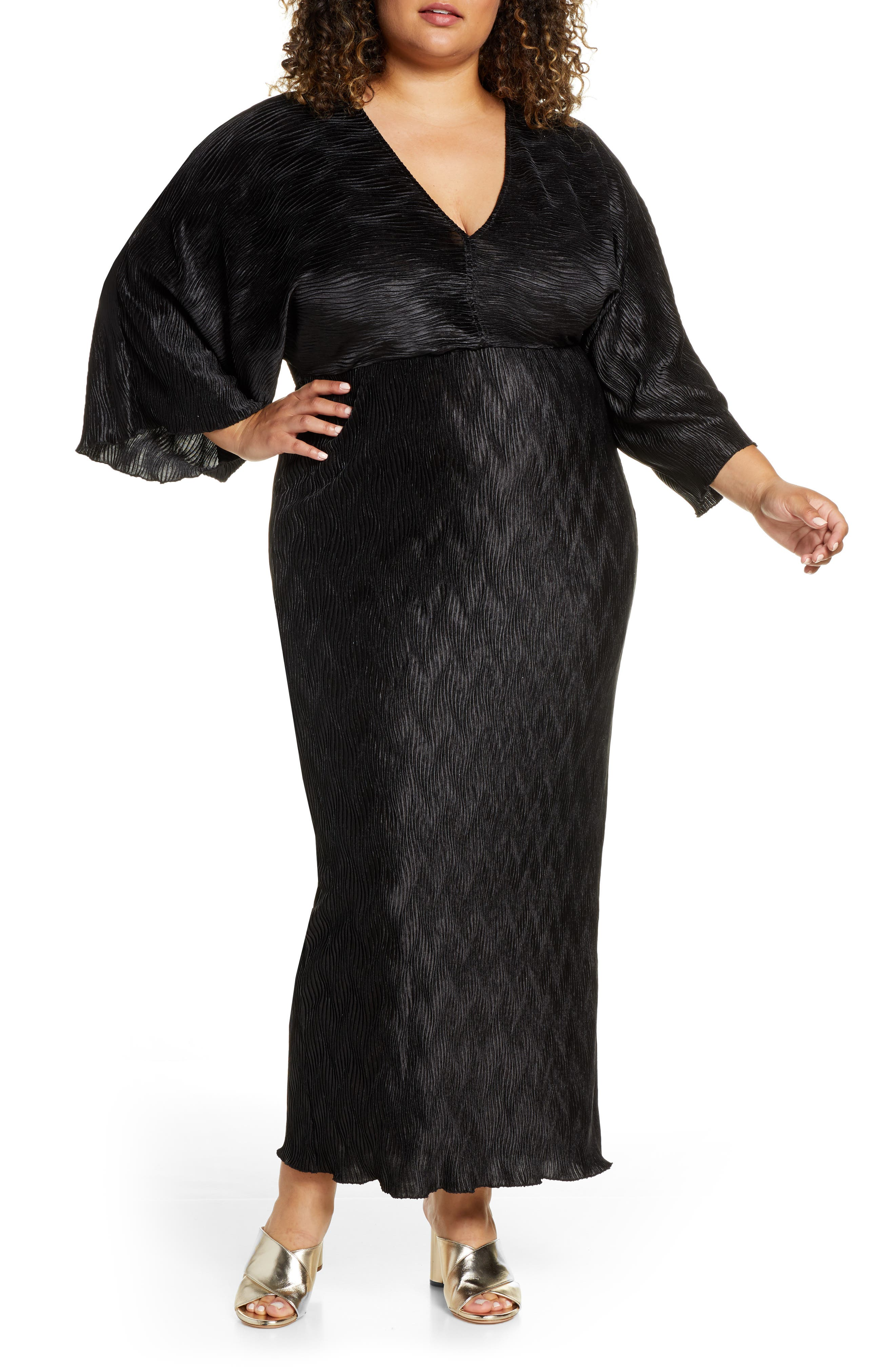 60s 70s Plus Size Dresses, Clothing, Costumes Plus Size Womens Eloquii Textured Long Sleeve Maxi Dress $99.95 AT vintagedancer.com
