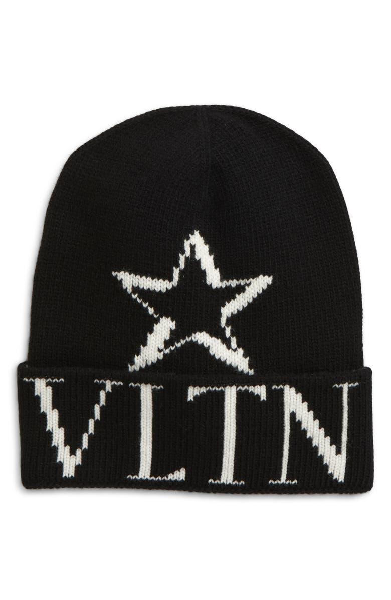VALENTINO VLTN Wool & Cashmere Beanie, Main, color, 003