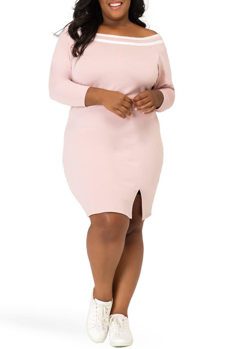 POETIC JUSTICE Eva Off the Shoulder Dress, Main, color, MAUVE