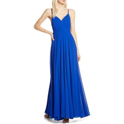 Lulus Surplice Chiffon Gown, Blue