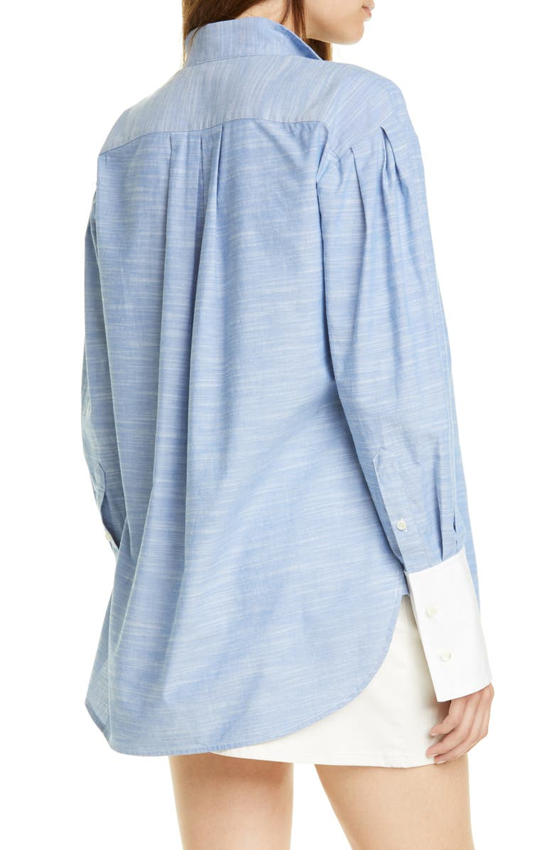 FRAME Pleated Contrast Cuff Shirt, Main, color, OXFORD BLUE
