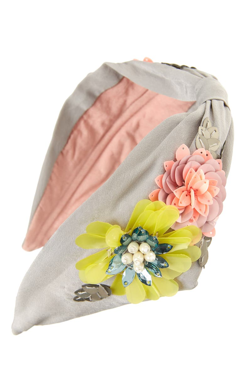 NAMJOSH 3D Floral Headband, Main, color, GREY