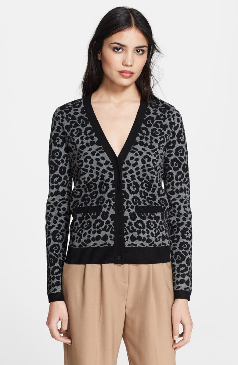 MILLY Cheetah Jacquard Cardigan, Main, color, 001