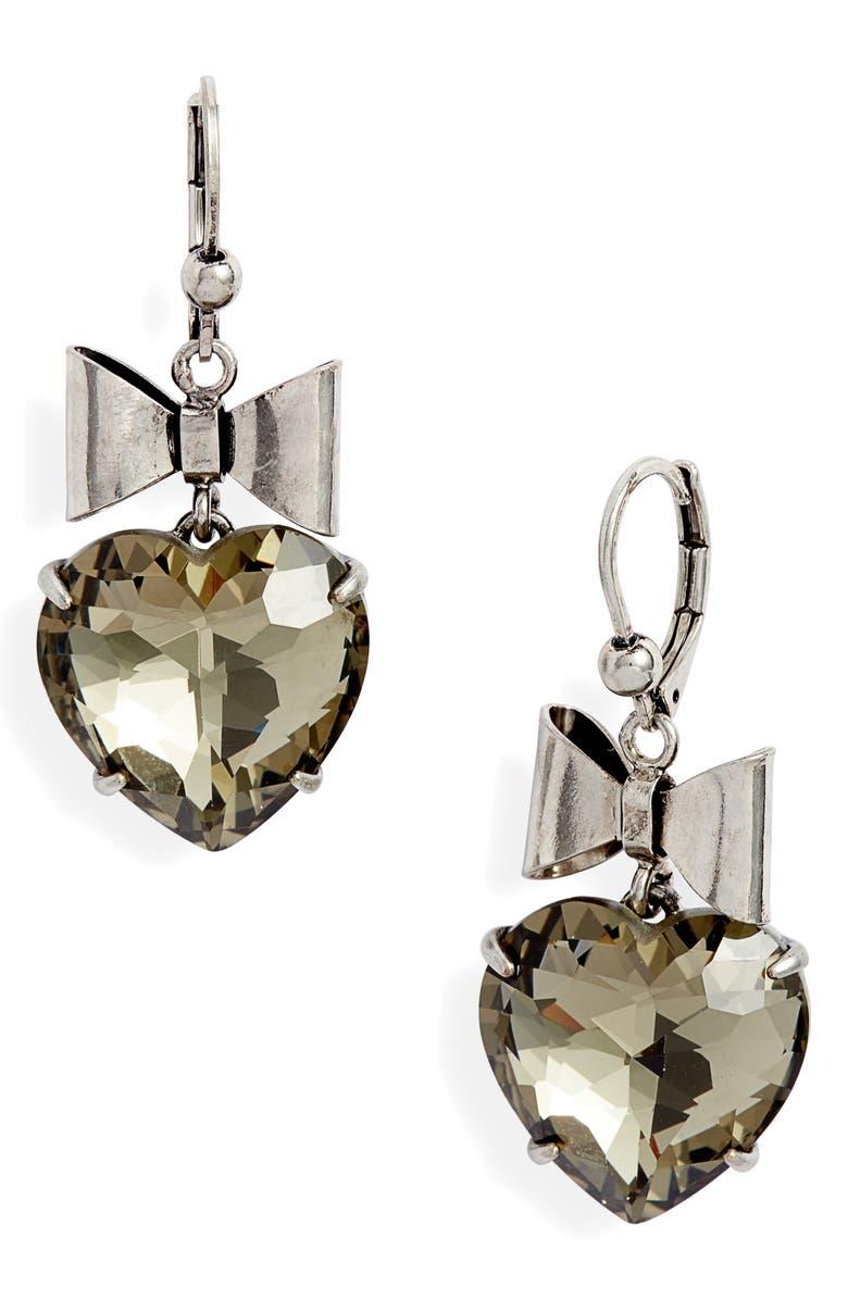 TORY BURCH Heart & Bow Drop Earrings, Main, color, 001