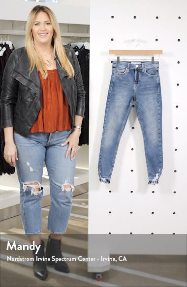 Jamie High Waist Ripped Hem Skinny Jeans, sales video thumbnail
