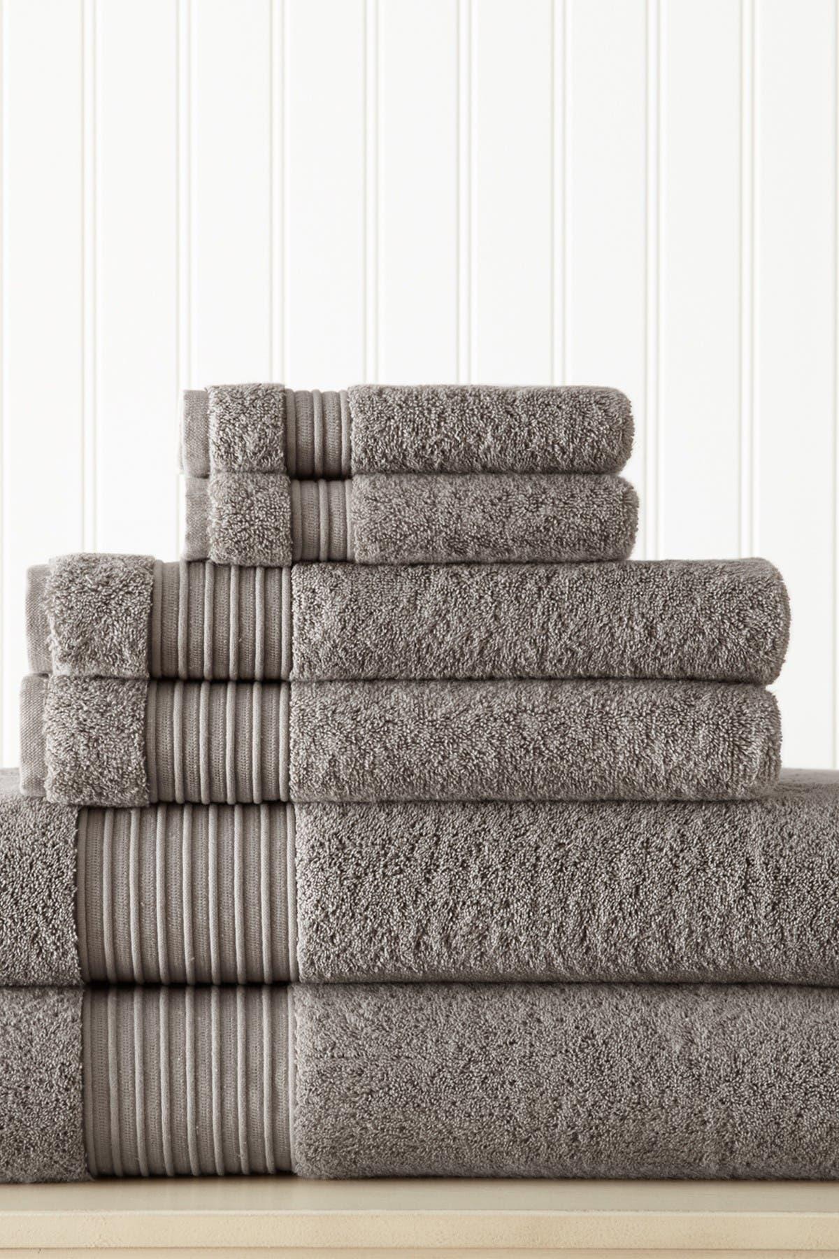 Image of Modern Threads 6-Piece Turkish Cotton Towel Set - Platinum