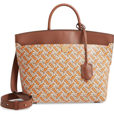 Burberry Small Society Tb Print Leather Top Handle Bag - Orange