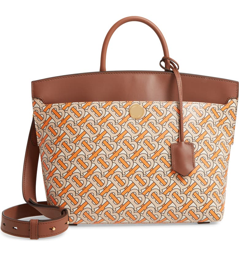 BURBERRY Small Society TB Print Leather Top Handle Bag, Main, color, BRIGHT ORANGE