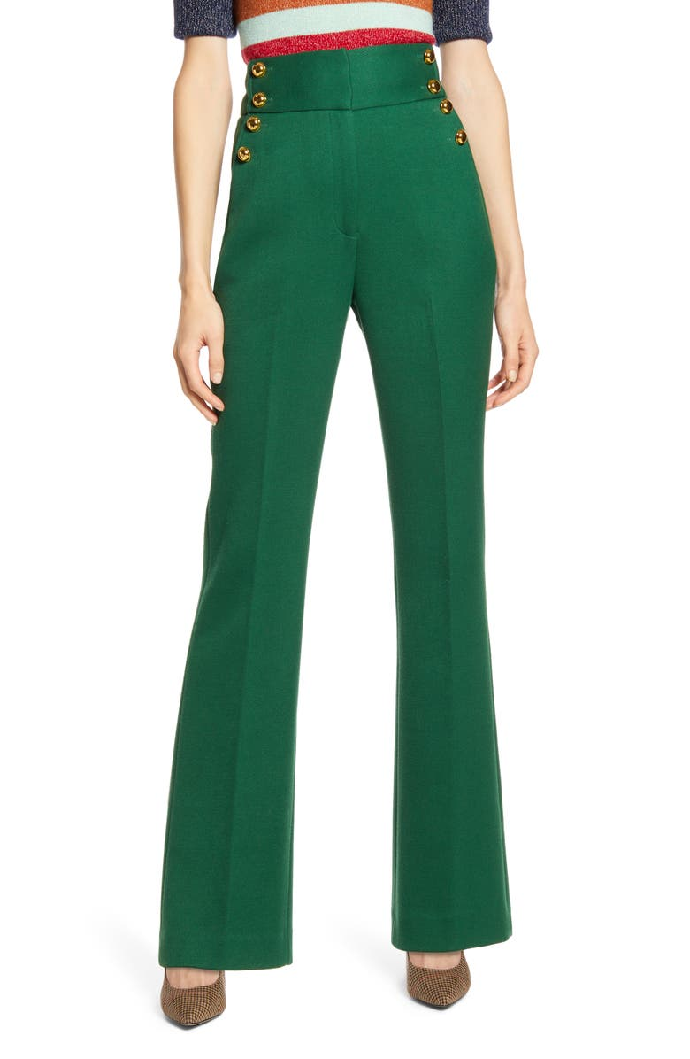 HALOGEN<SUP>®</SUP> x Atlantic-Pacific Button Detail High Waist Flare Pants, Main, color, 301