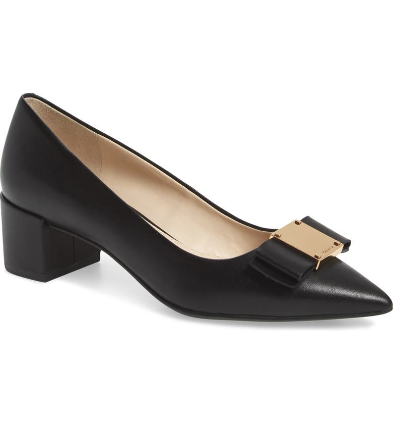 COLE HAAN Tali Modern Waterproof Bow Pump, Main, color, BLACK LEATHER