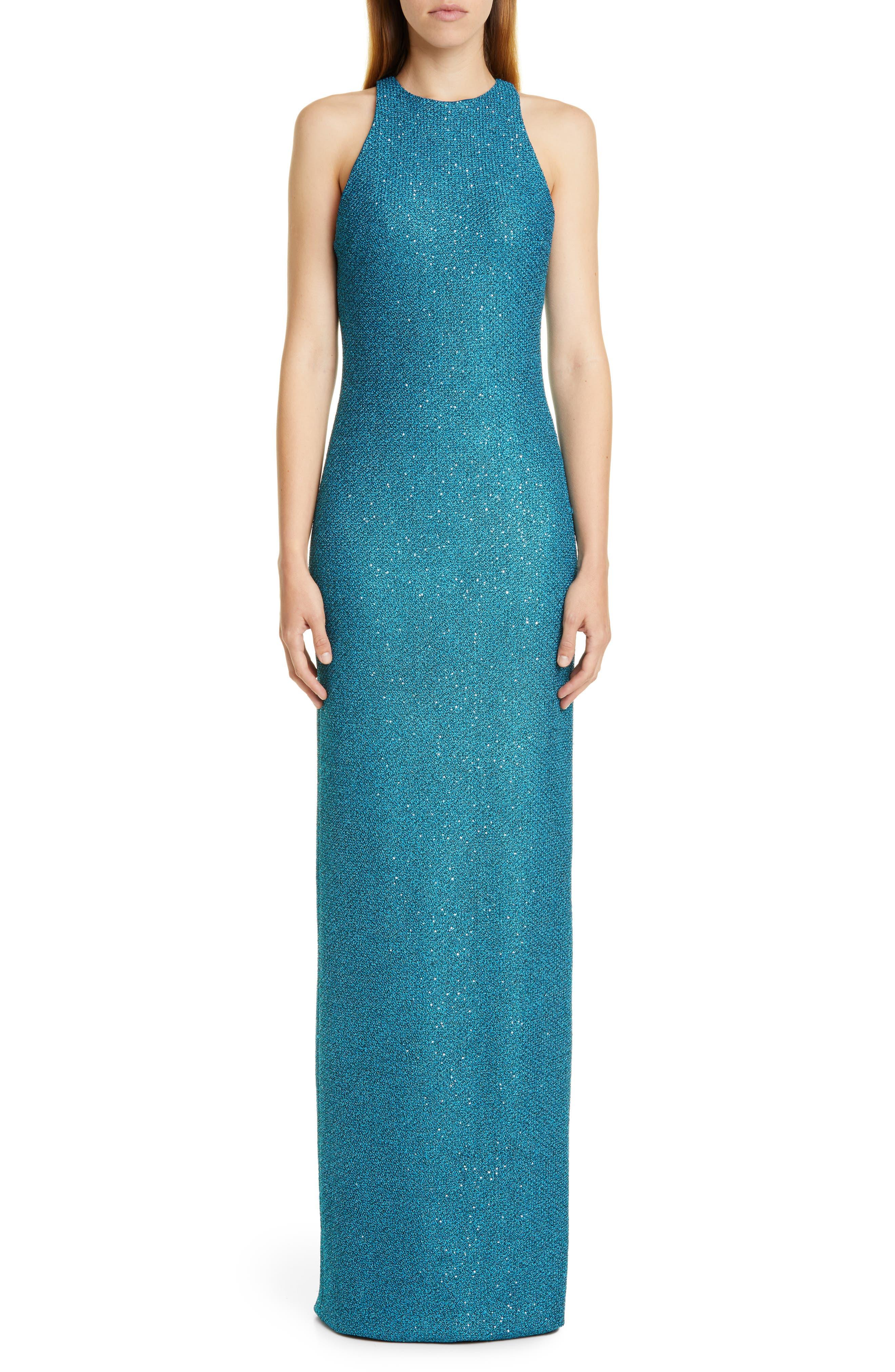 St. John Collection Luxe Sequin Tuck Knit Evening Dress, Blue