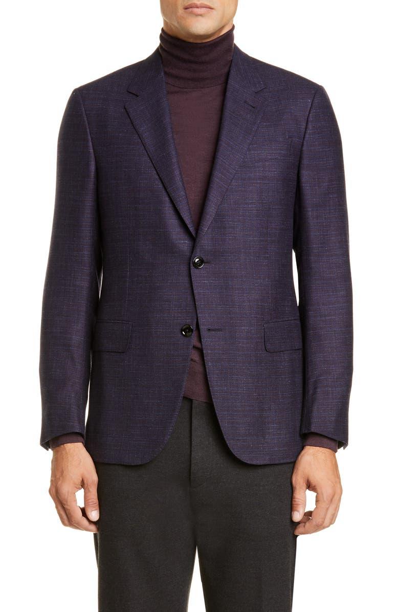ERMENEGILDO ZEGNA Milano Classic Fit Check Wool Blend Sport Coat, Main, color, NAVY