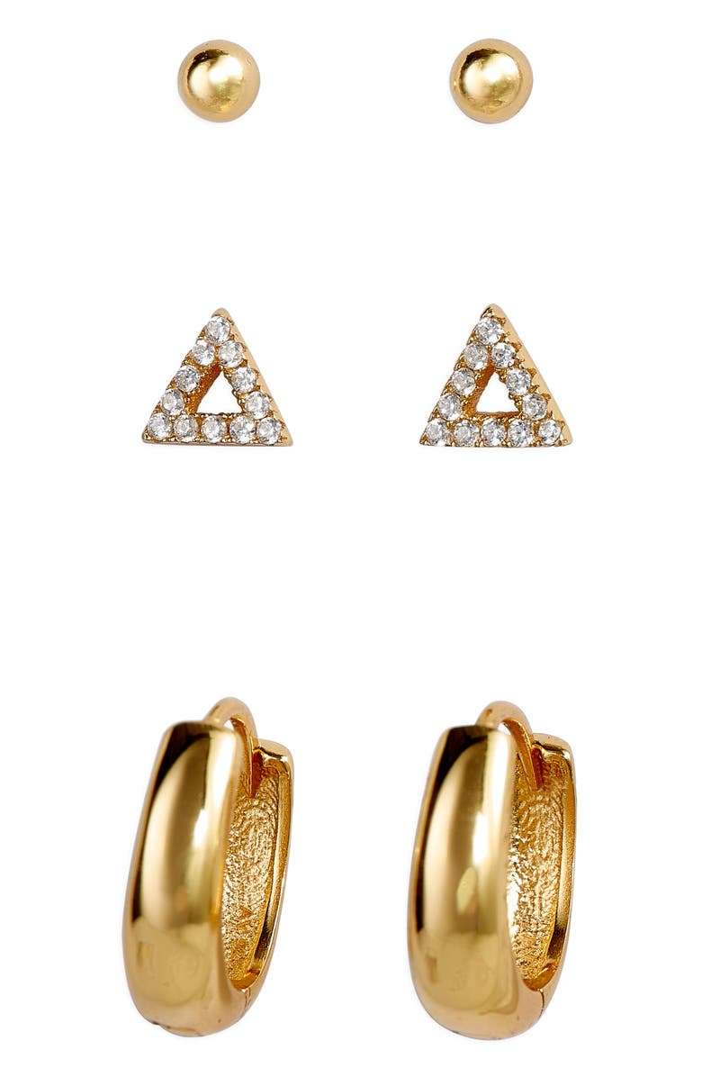 ARGENTO VIVO Set of 3 Earrings, Main, color, GOLD