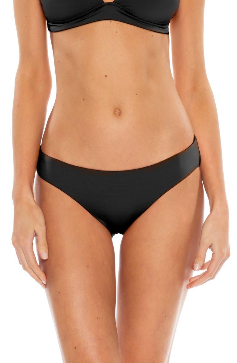 BECCA Shirred Hipster Bikini Bottoms, Main, color, BLACK