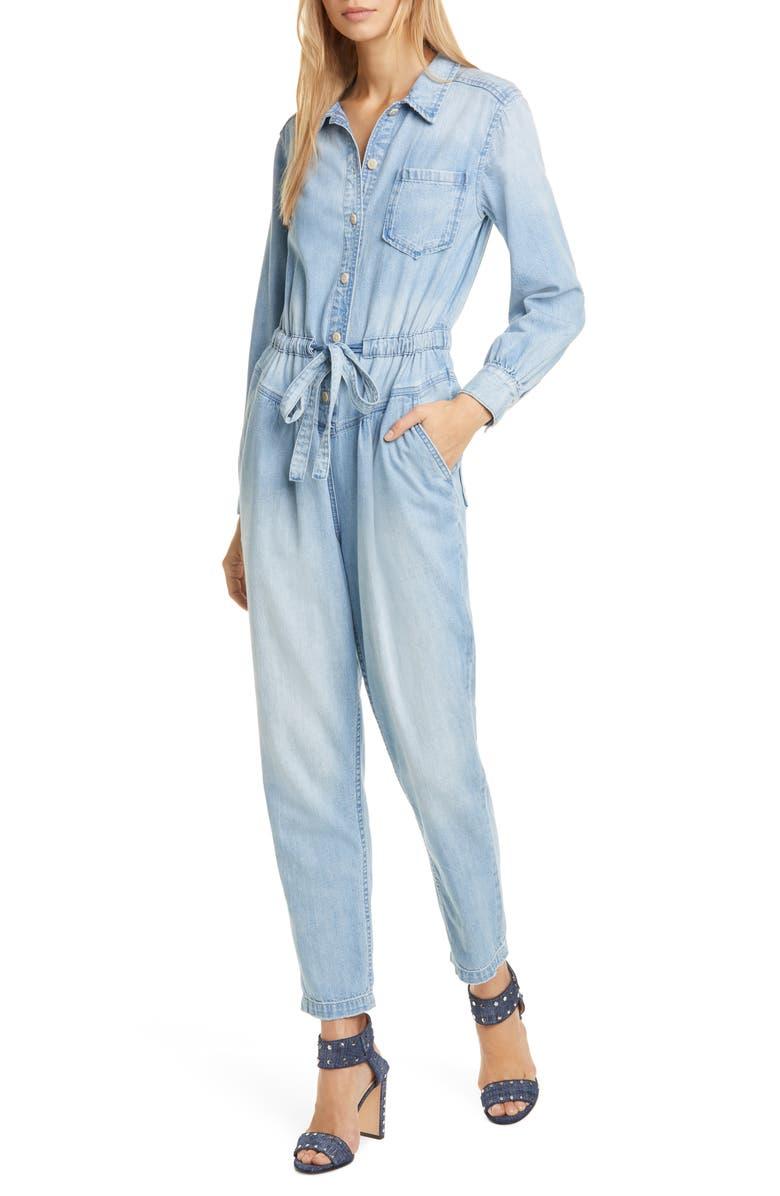 LA VIE REBECCA TAYLOR Long Sleeve Denim Jumpsuit, Main, color, 400