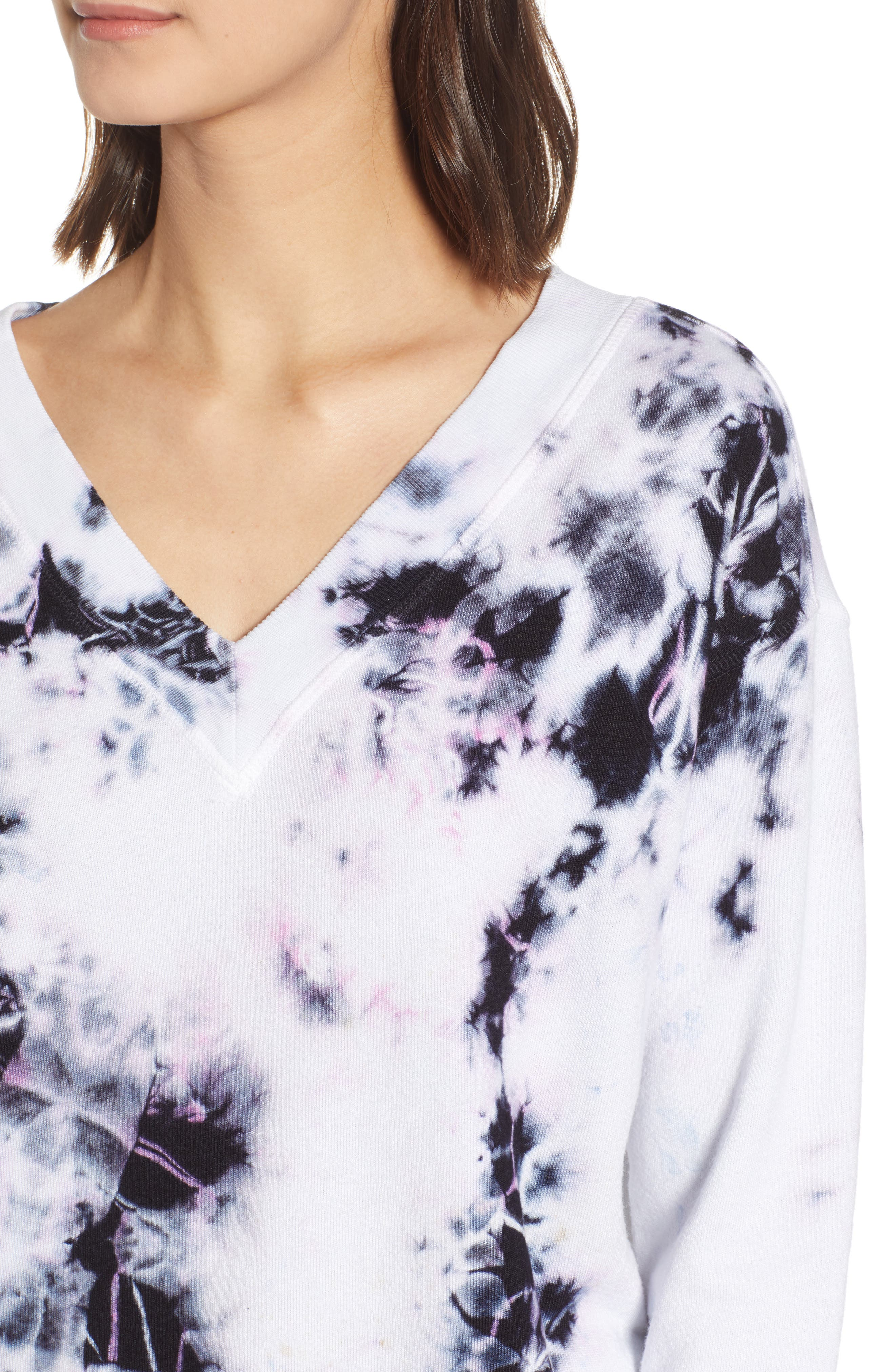 ,                             Sterling Tie Dye V-Neck Sweatshirt,                             Alternate thumbnail 4, color,                             MOONLIGHT MULTI