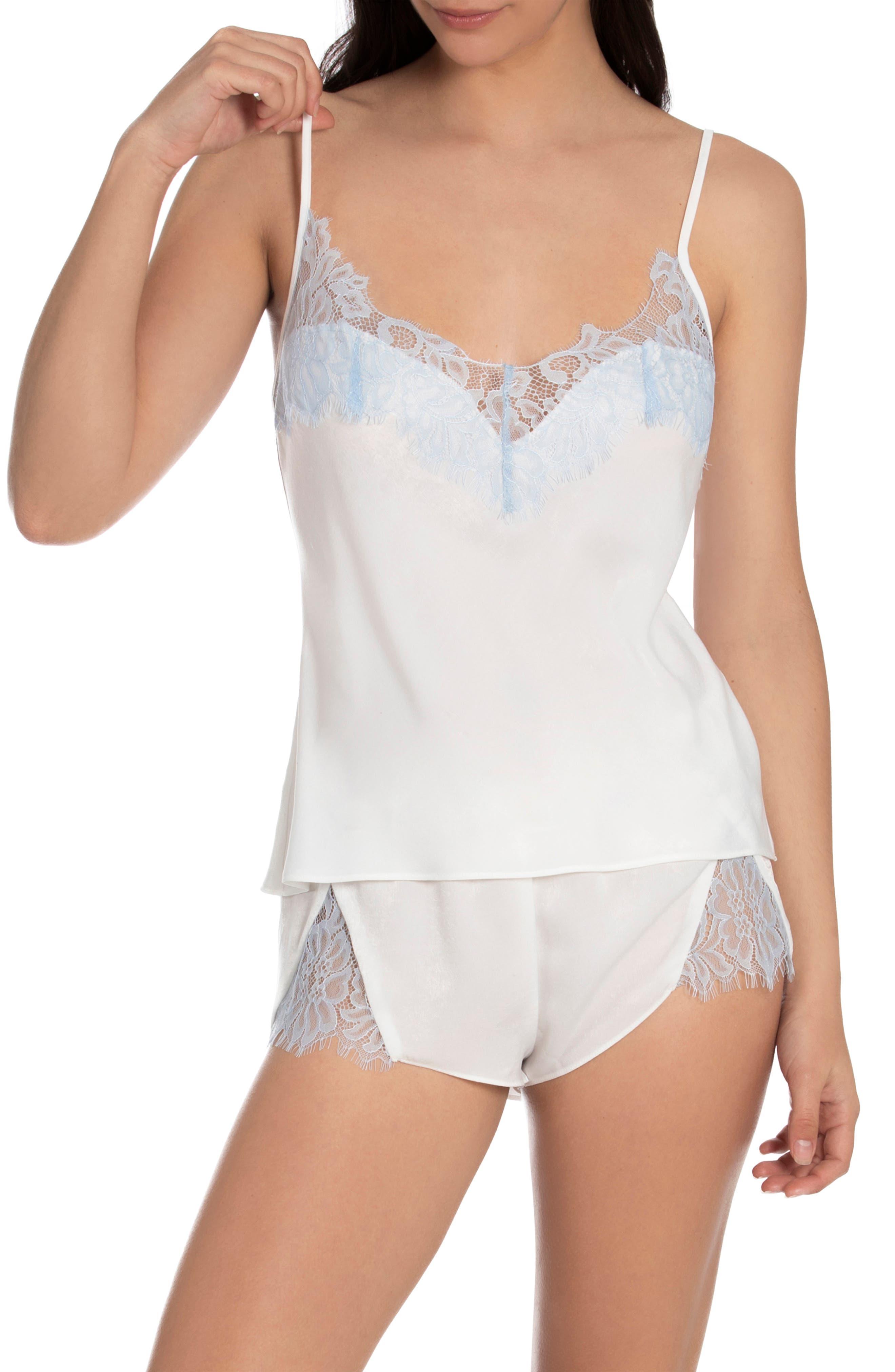 Lace Trim Satin Camisole Pajamas