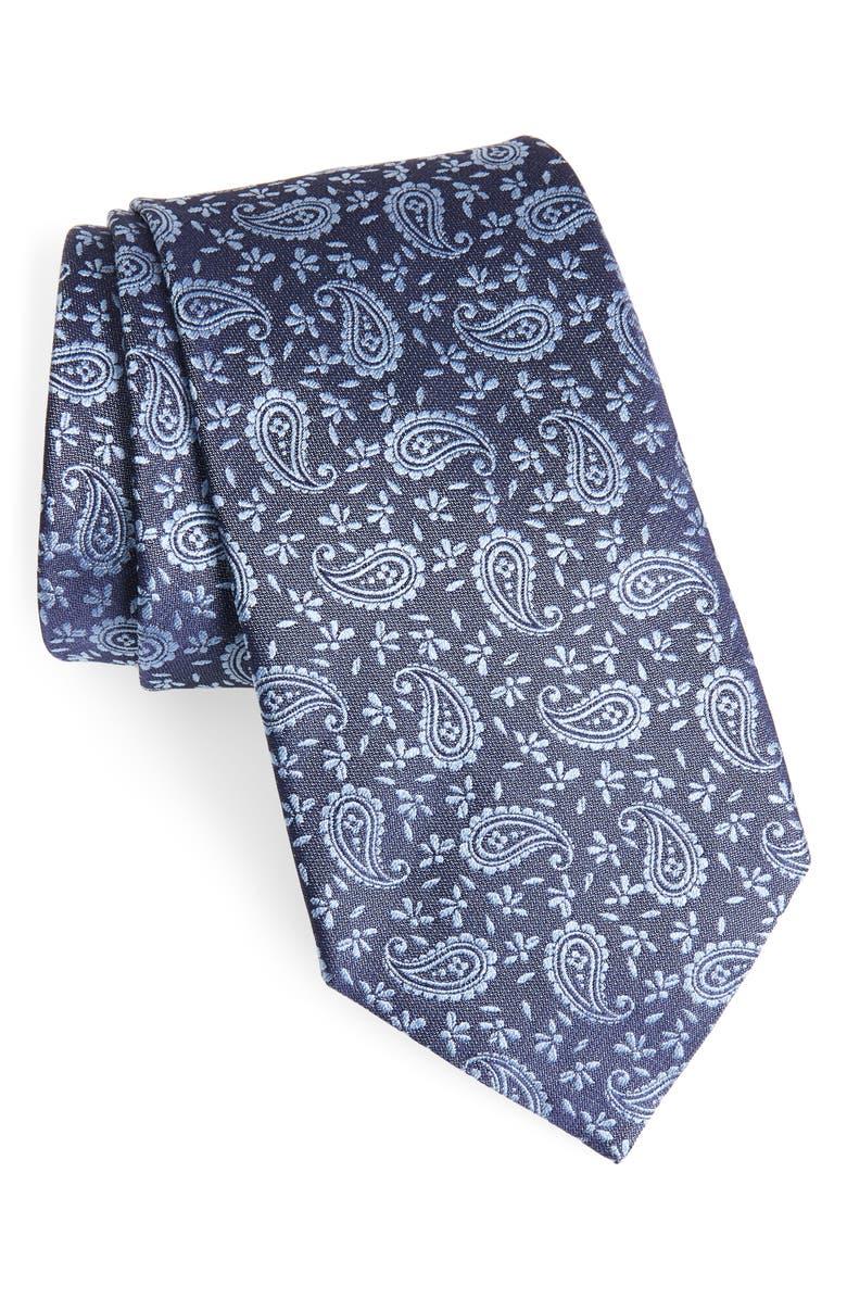 ERMENEGILDO ZEGNA Paisley Petal Silk Tie, Main, color, 439