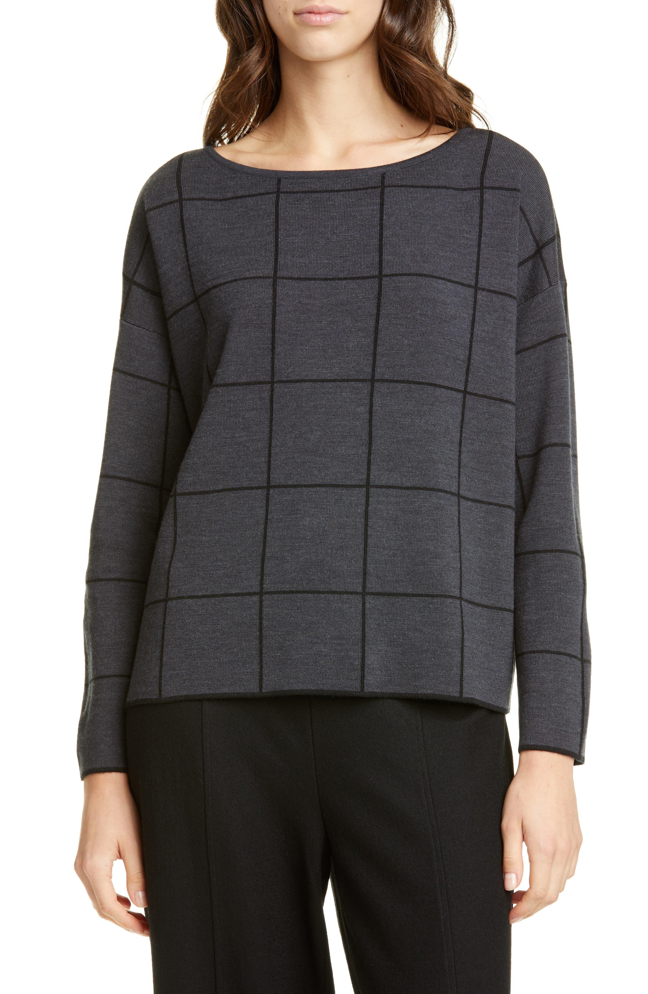 Eileen Fisher Sweaters Bateau Neck Windowpane Sweater