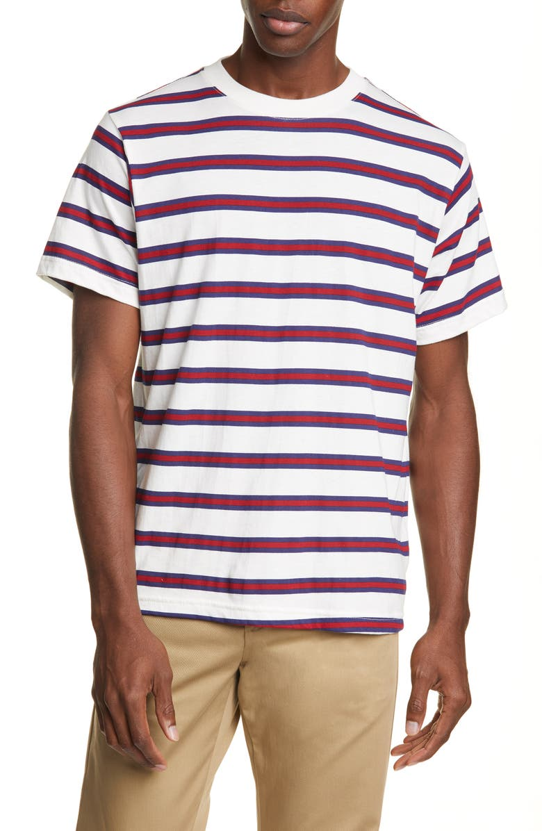 NOON GOONS Surfer Stripe T-Shirt, Main, color, STRIPE 2 ECRU/RED