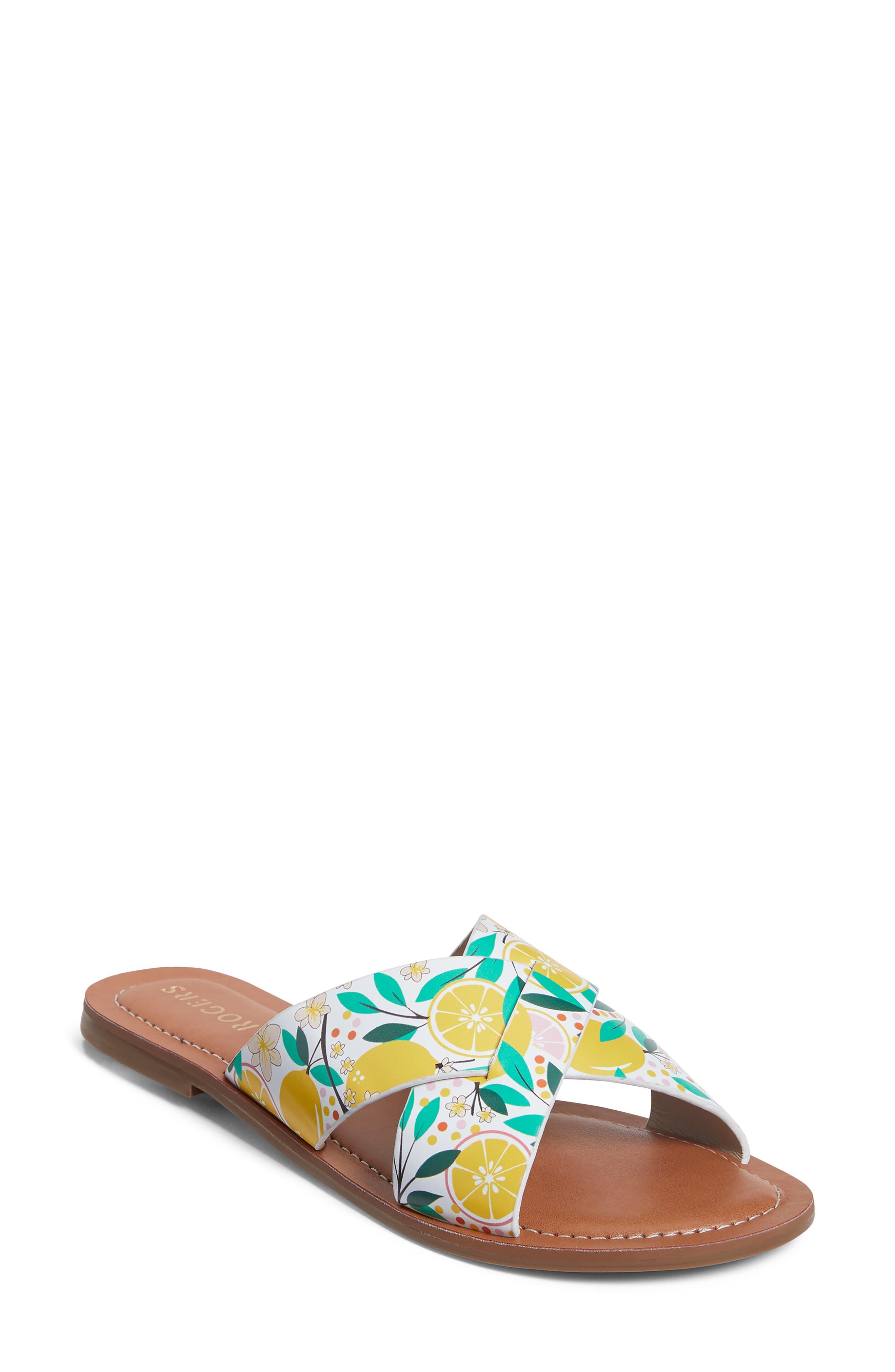 Sloane Lemon Print Slide Sandal