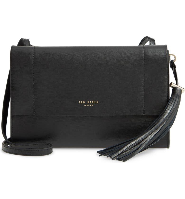 TED BAKER LONDON Natalei Leather Crossbody Bag, Main, color, BLACK