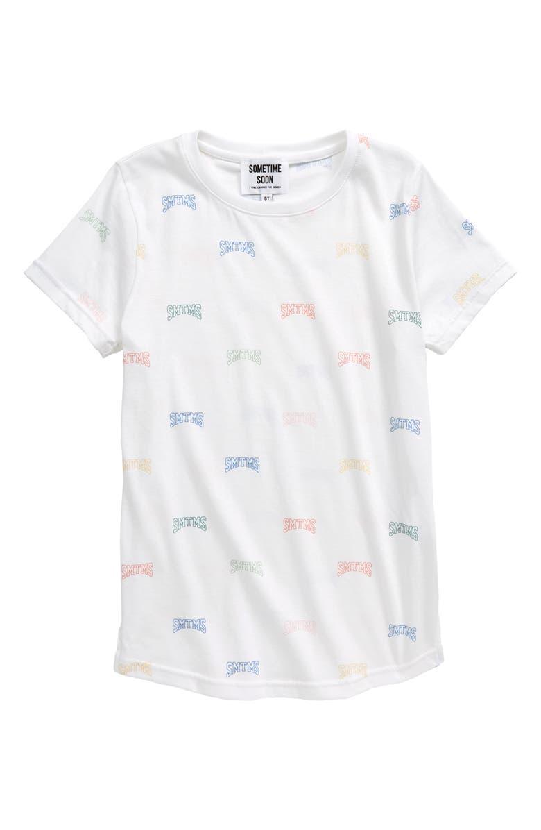 SOMETIME SOON Campus Logo Organic Cotton T-Shirt, Main, color, WHITE