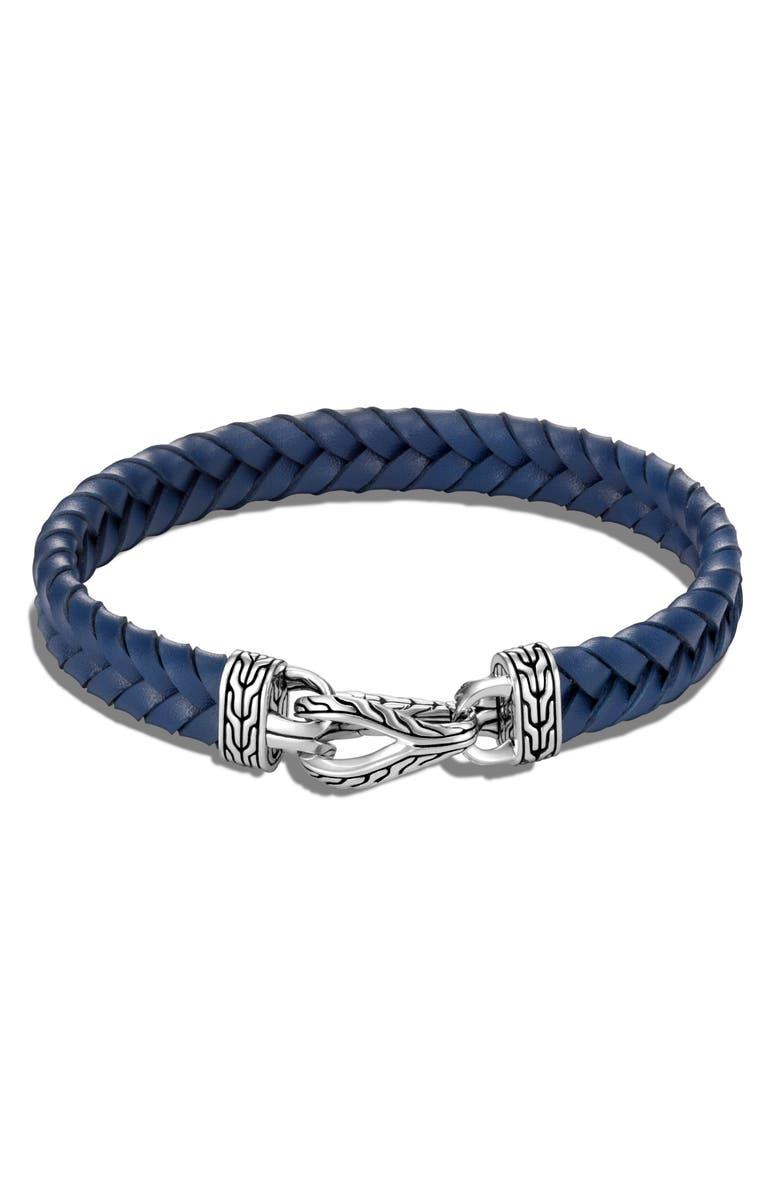 JOHN HARDY Men's Asli Classic Chain Braided Leather Bracelet, Main, color, SILVER/ BLUE