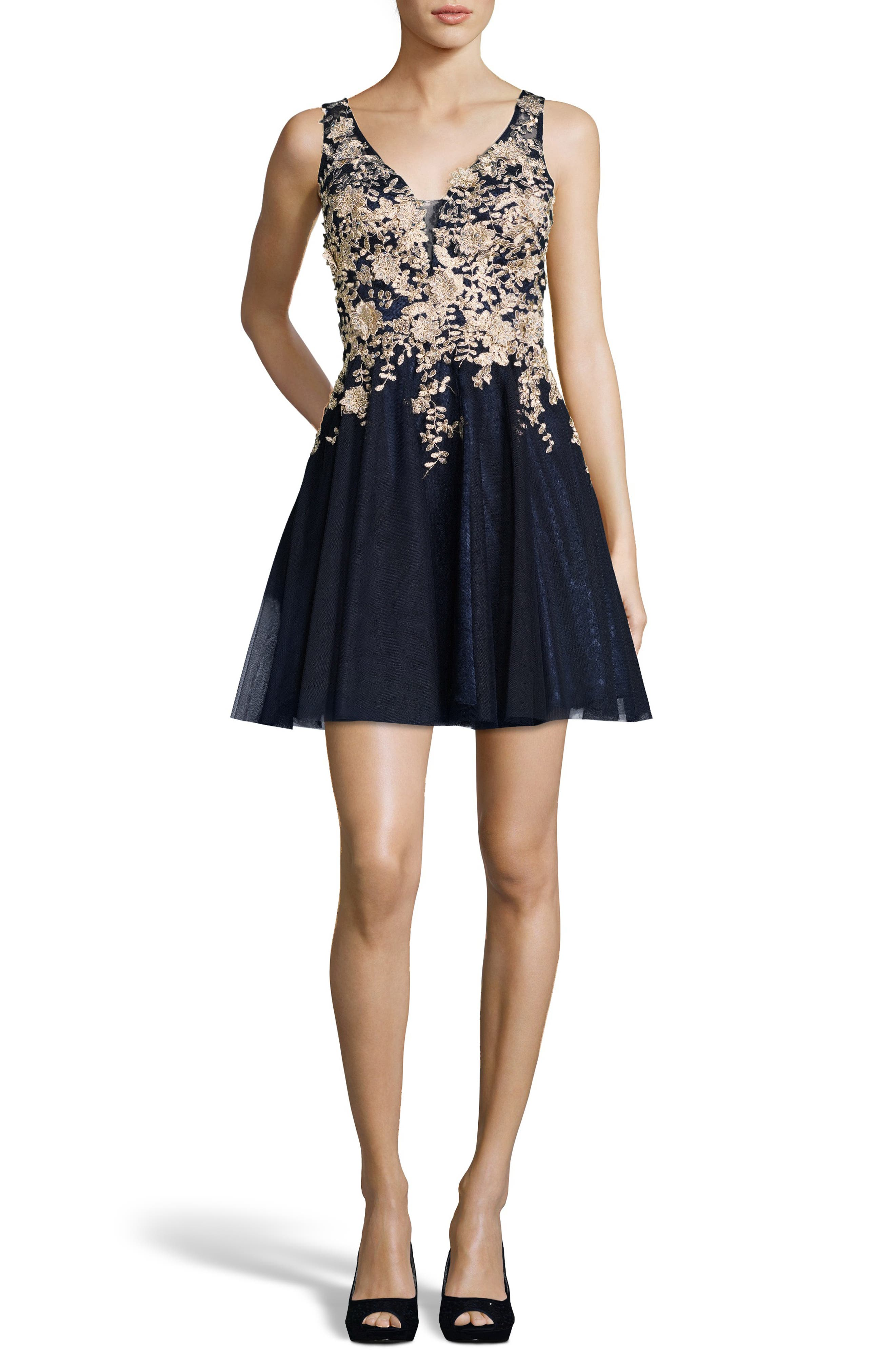 Xscape Gold Embroidered Fit & Flare Cocktail Dress, Blue