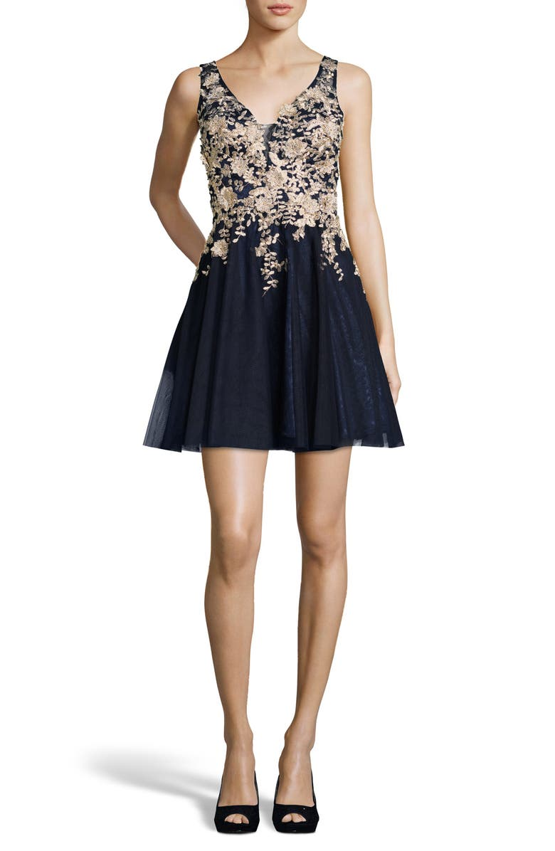XSCAPE Gold Embroidered Fit & Flare Cocktail Dress, Main, color, NAVY/ GOLD