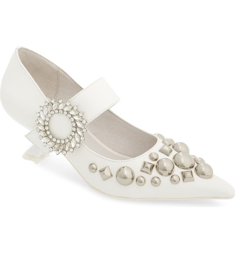 JEFFREY CAMPBELL Otelia Crystal Embellished Pump, Main, color, WHITE PATENT SILVER