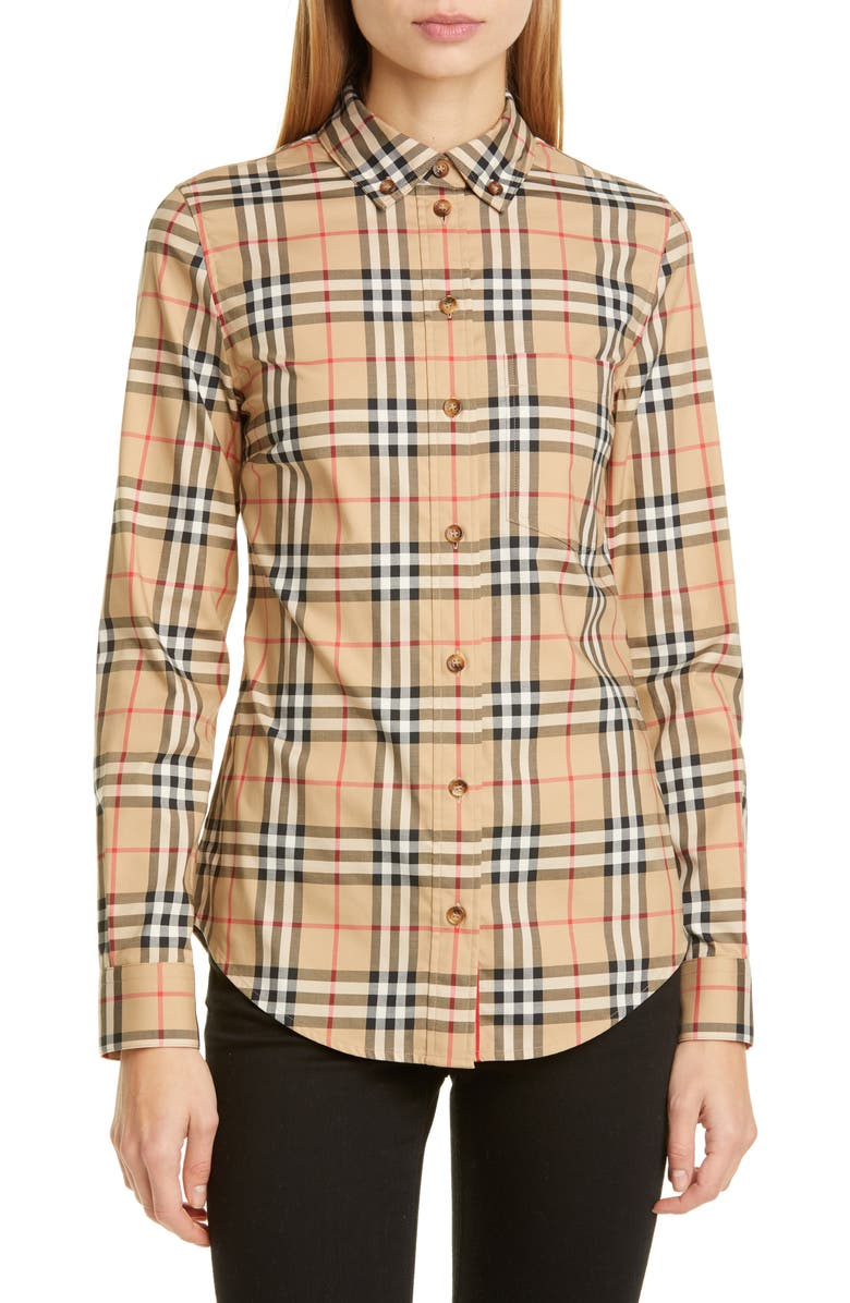 BURBERRY Lapwing Vintage Check Stretch Cotton Shirt, Main, color, ARCHIVE BEIGE IP CHK