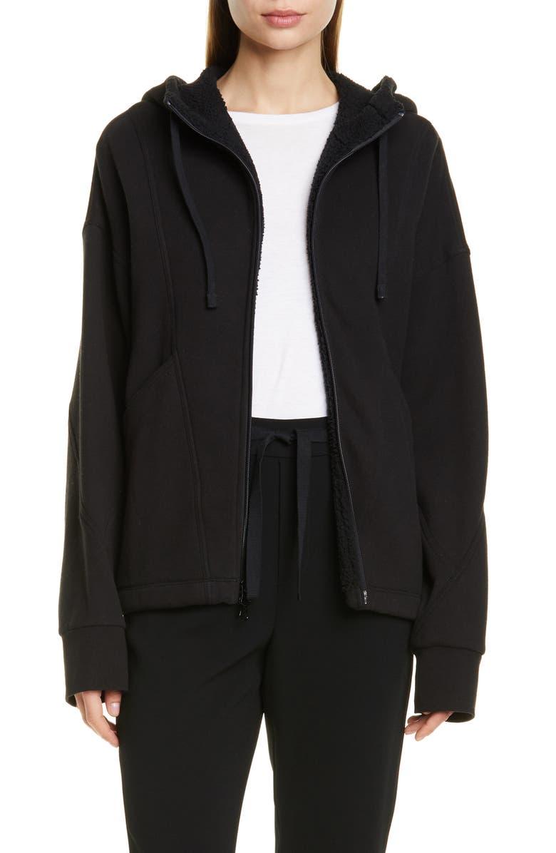 VINCE Front Zip Fleece Lined Hoodie, Main, color, BLACK