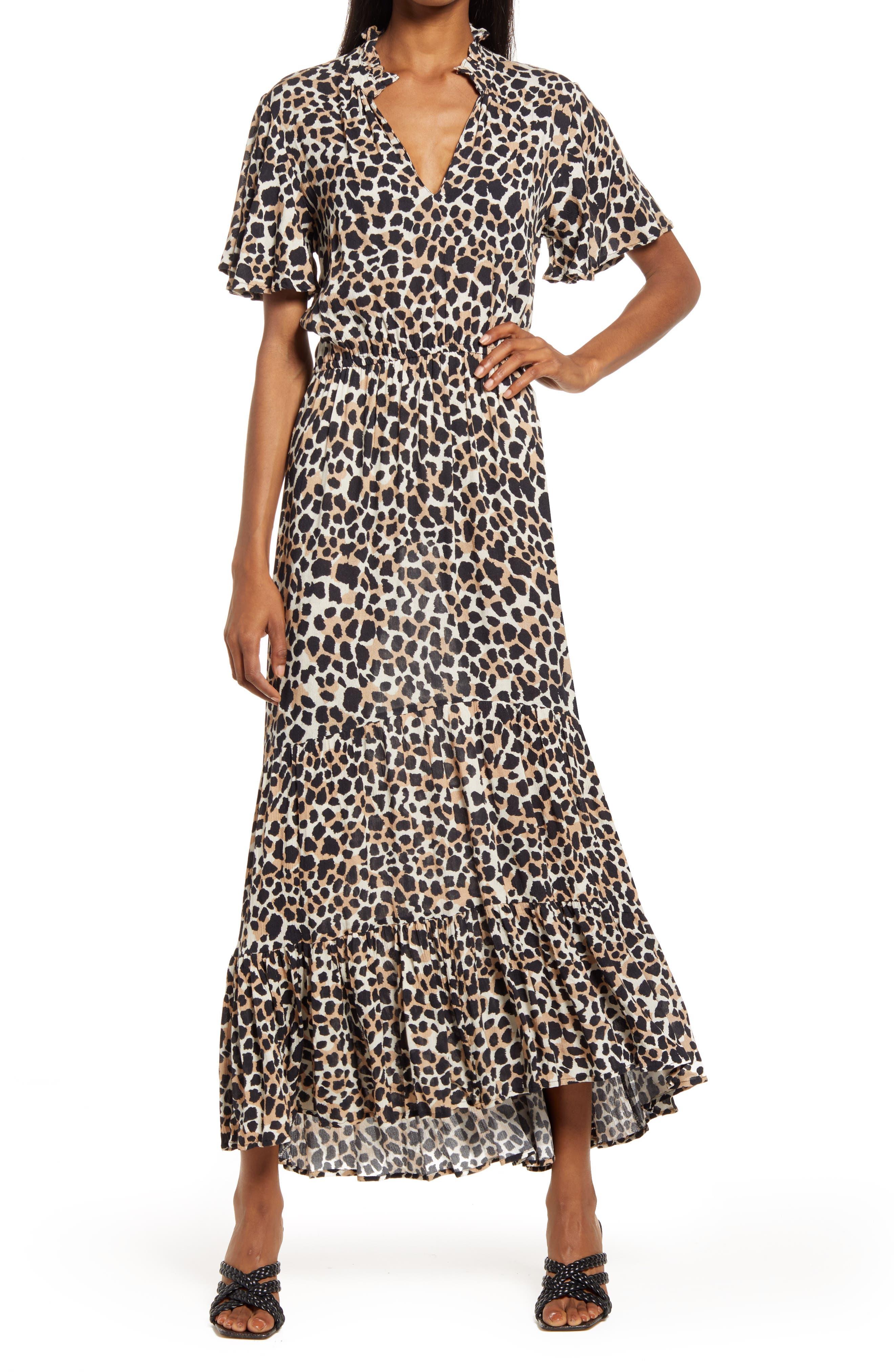 Lara Abstract Leopard Print Tiered Ruffle Maxi Dress