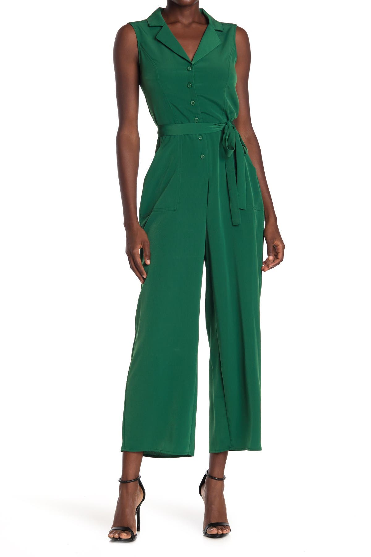 Image of London Times Feather Crepe Notch Collar Jumpsuit