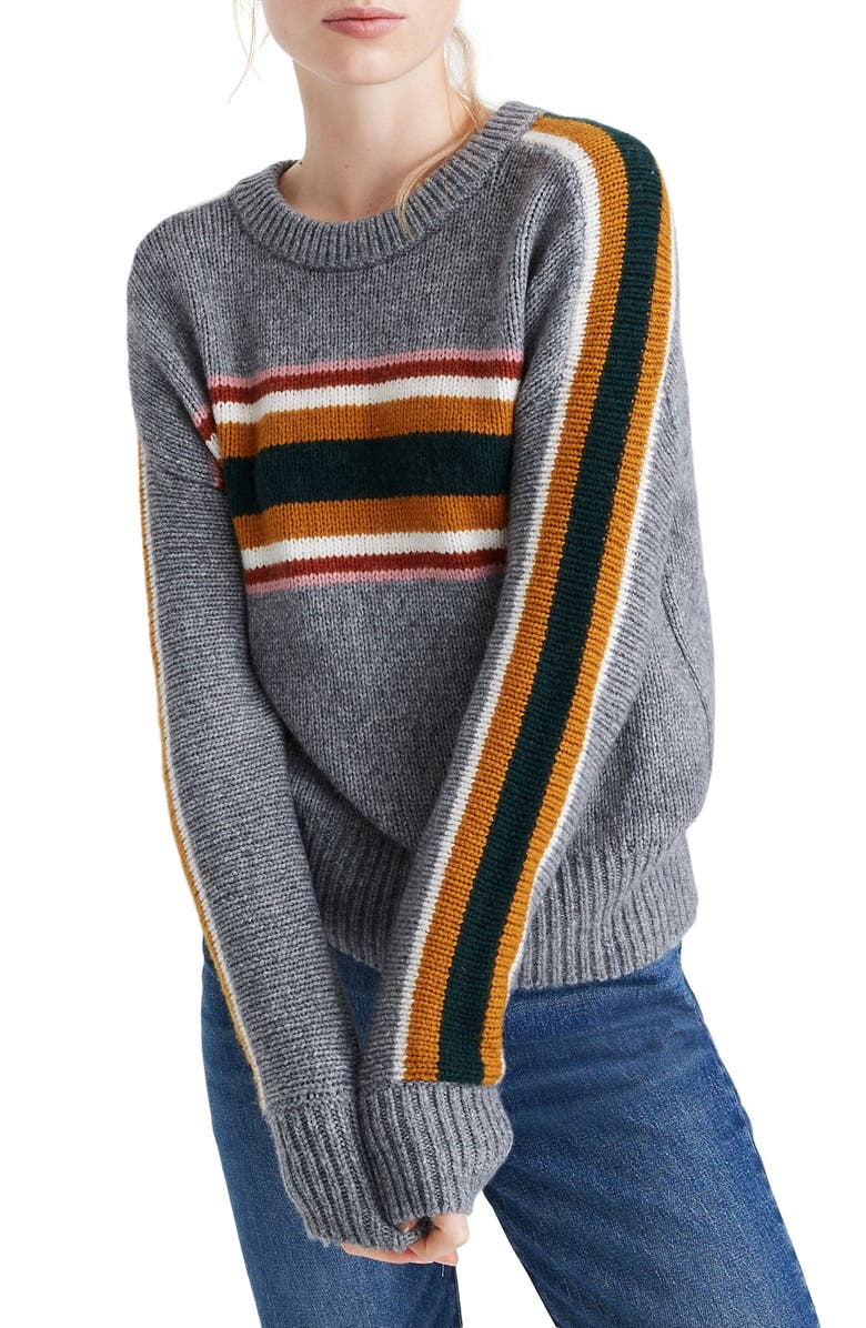MADEWELL Striped Heath Pullover Sweater, Main, color, HEATHER STONE