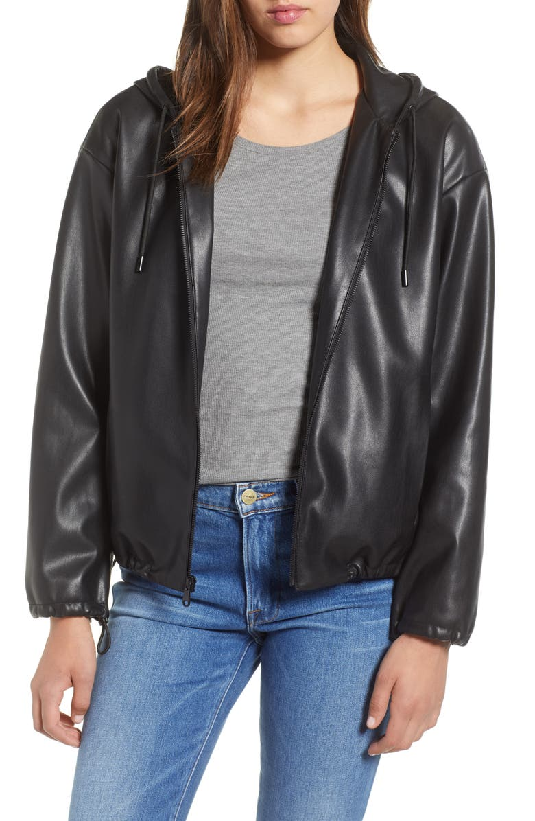 SAM EDELMAN Faux Leather Hoodie, Main, color, 001