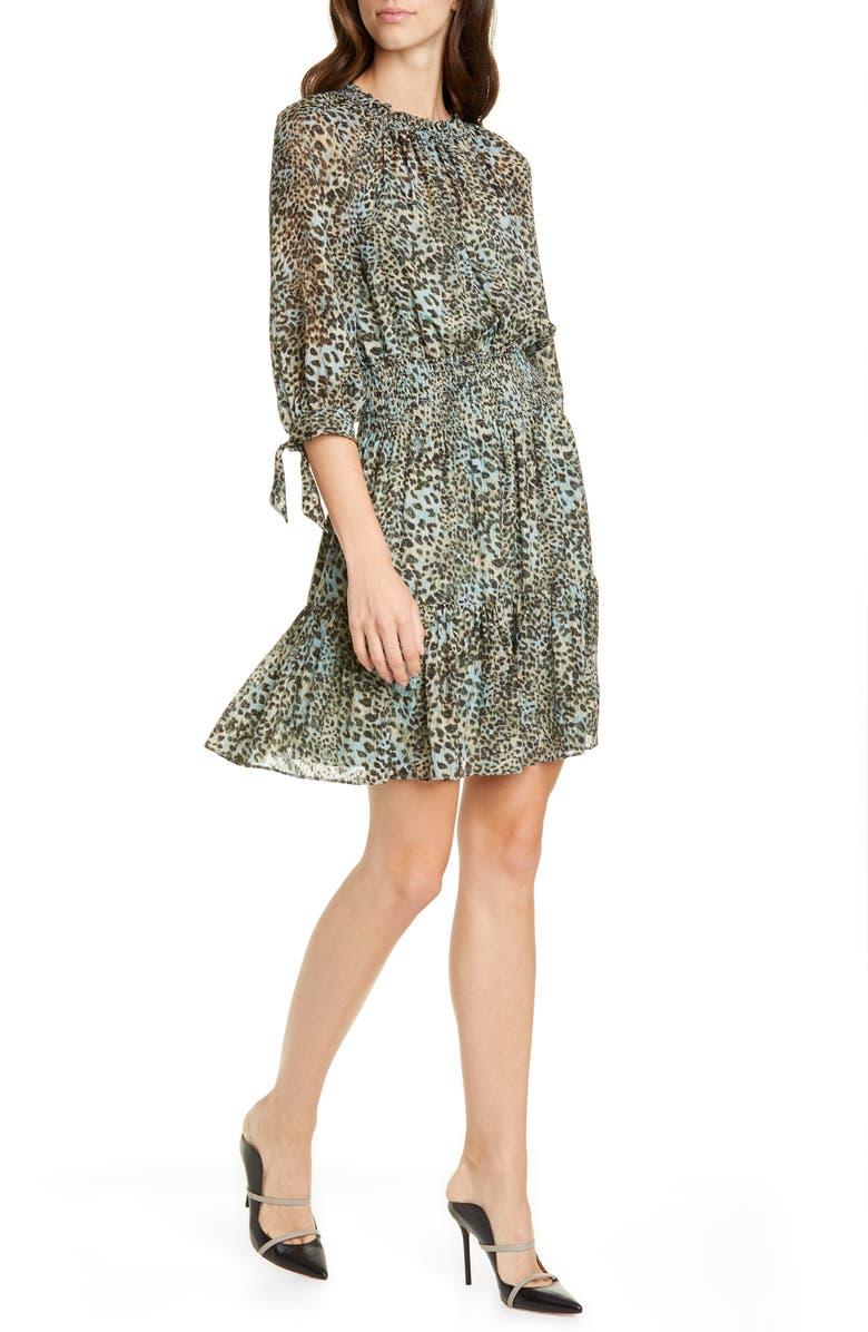 REBECCA TAYLOR Klynx Smocked Silk Blend Dress, Main, color, LIGHT SAGE COMBO