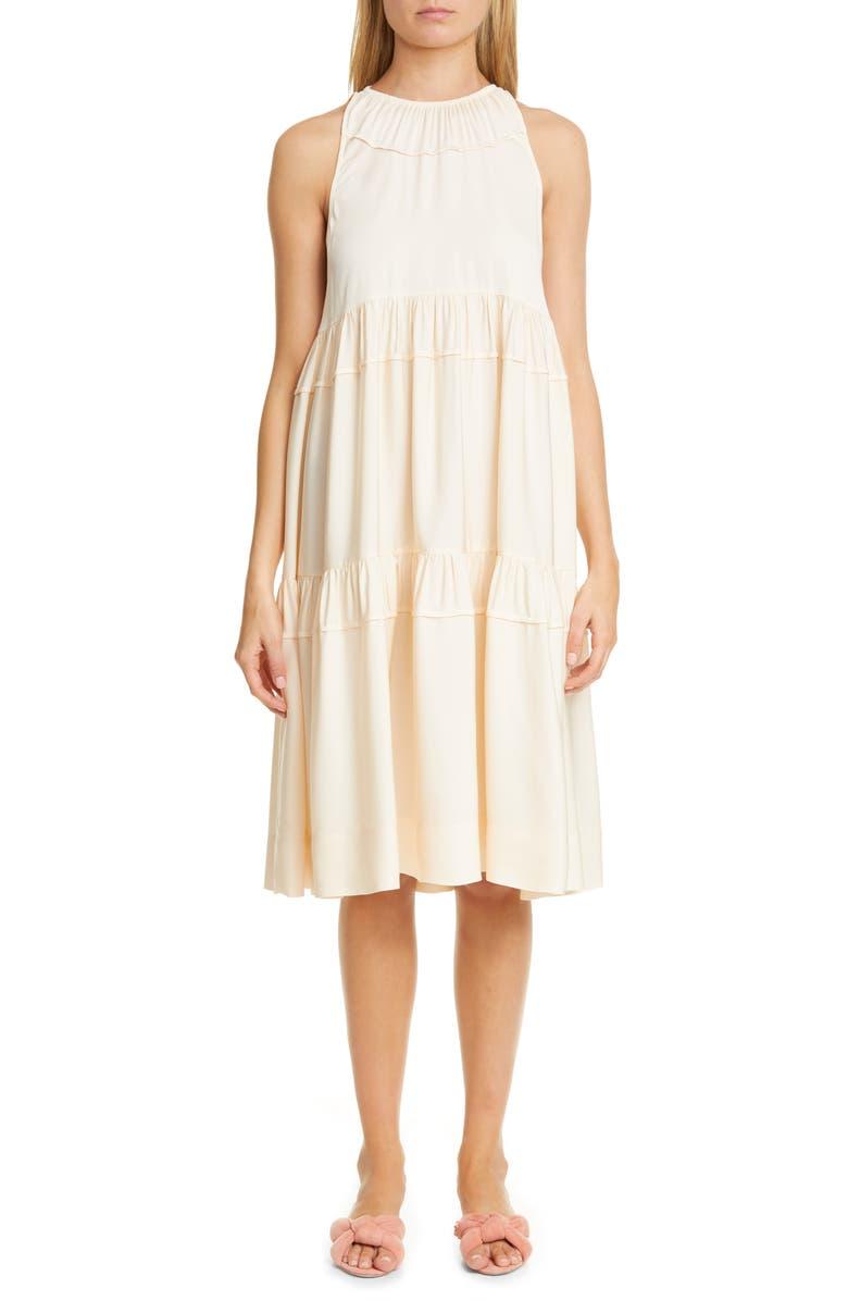 ROSETTA GETTY Tiered Trapeze Dress, Main, color, DAWN