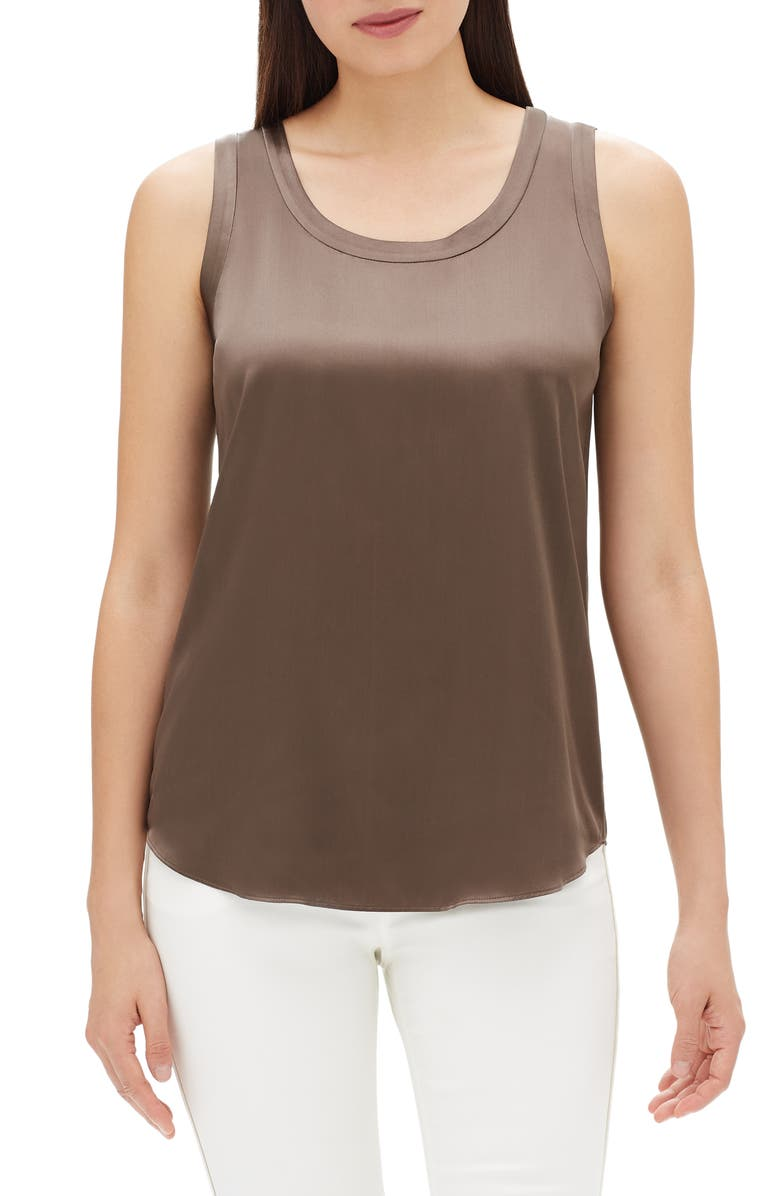 LAFAYETTE 148 NEW YORK Perla Reversible Silk Blouse, Main, color, NOUGAT