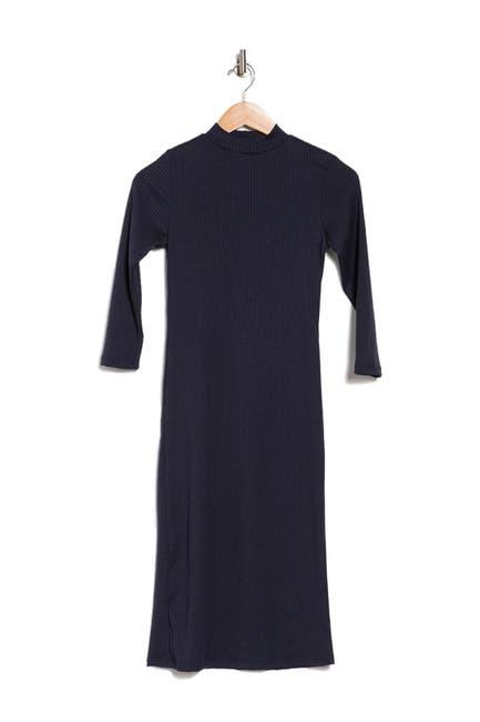 Image of Velvet Torch Ribbed Mock Neck 3/4 Sleeve Dress