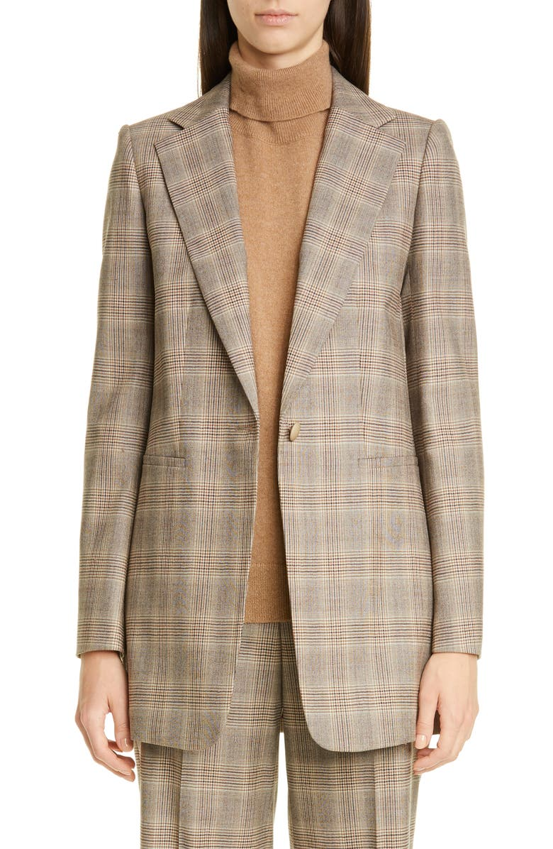 LAFAYETTE 148 NEW YORK Beau Plaid Stretch Wool Blazer, Main, color, TRUFFLE MULTI
