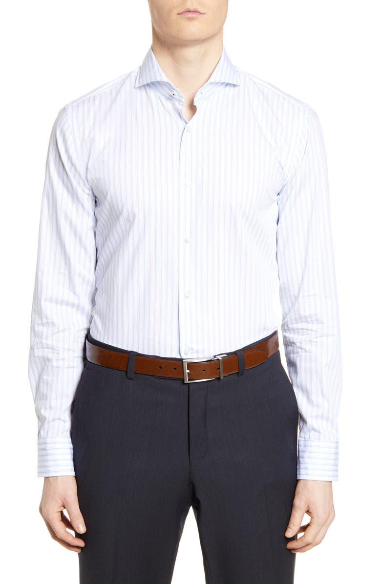 BOSS Slim Fit Stripe Dress Shirt, Main, color, LIGHT BLUE