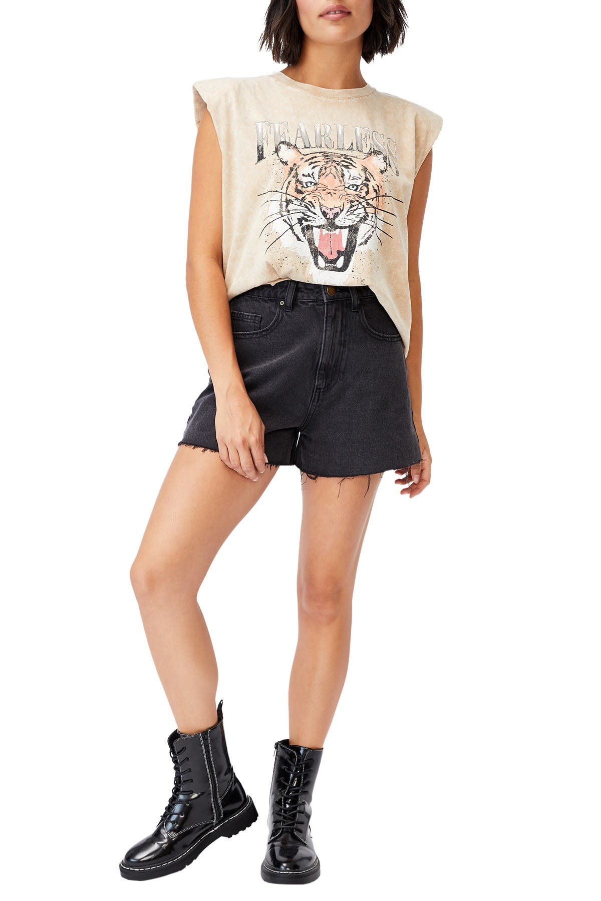 Image of Cotton On Padded Graphic Muscle Tank