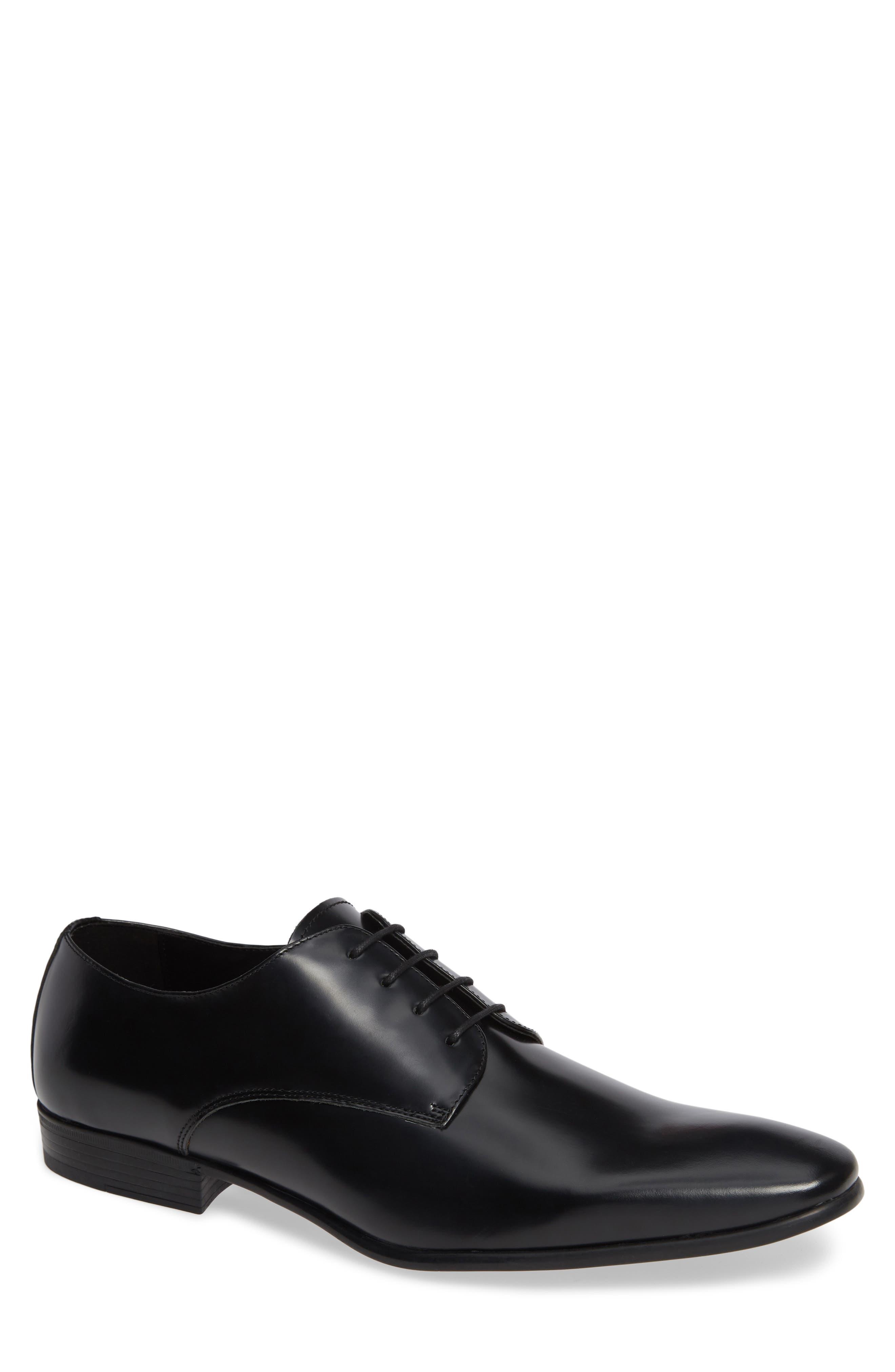 Caden Plain Toe Derby, Main, color, BLACK LEATHER