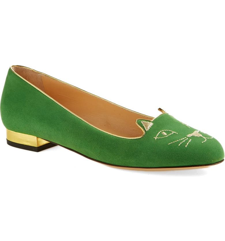CHARLOTTE OLYMPIA 'Kitty' Suede Flat, Main, color, 300