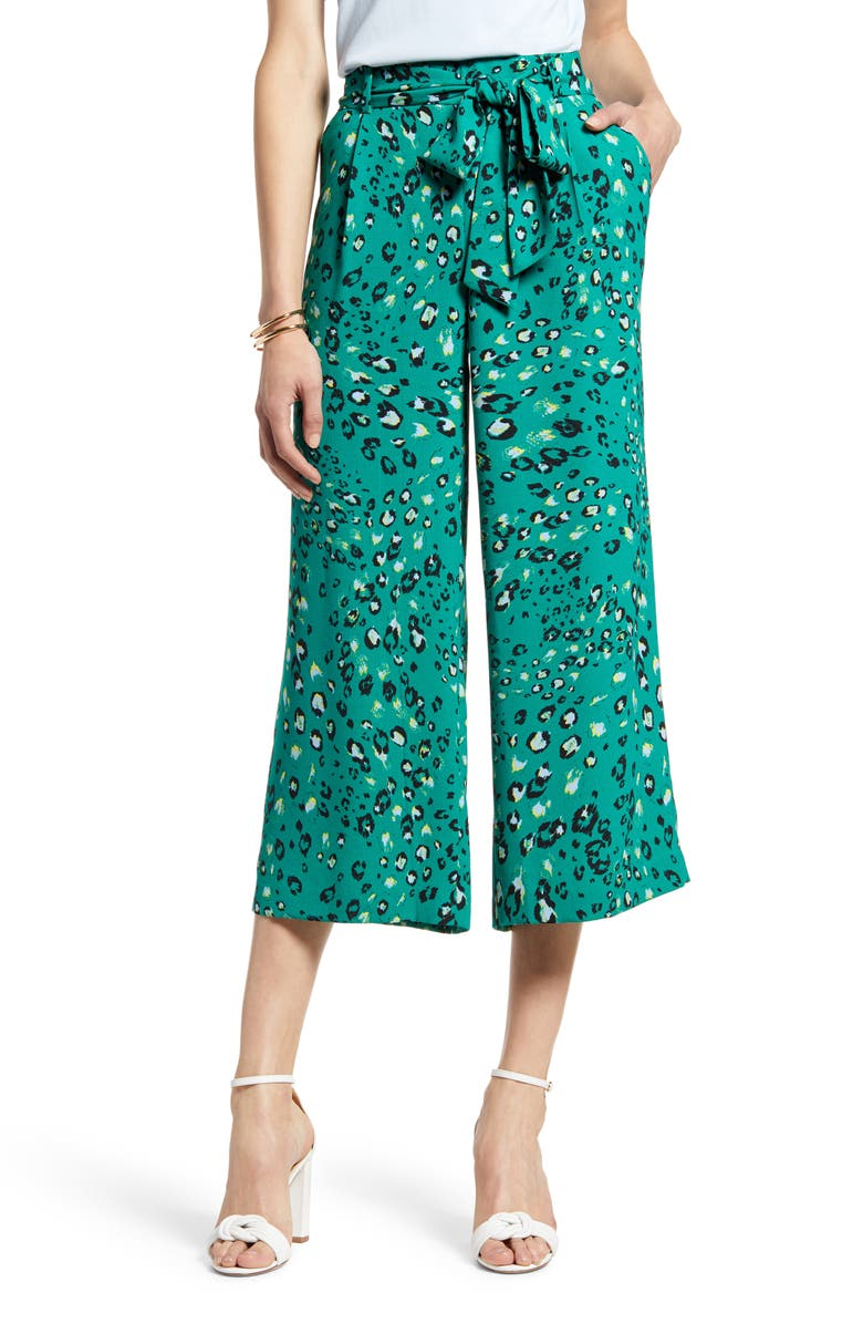 HALOGEN<SUP>®</SUP> Wide Leg Crop Pants, Main, color, GREEN ANIMAL PRINT